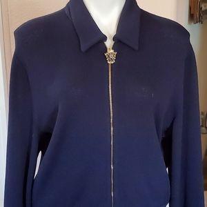ST JOHN SPORT, Luxury Wool Sweater Jacket, Large